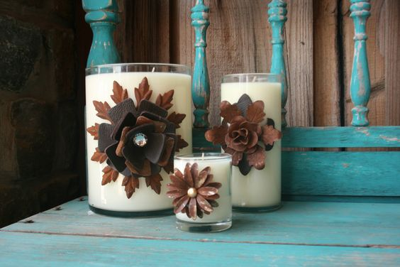 Leather Accented Candles for the home @Teskeys