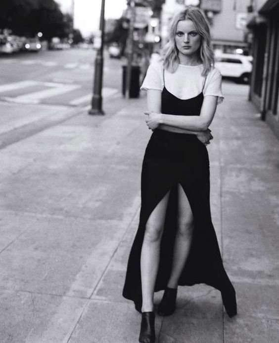 black and white t-shirt under dress street style:
