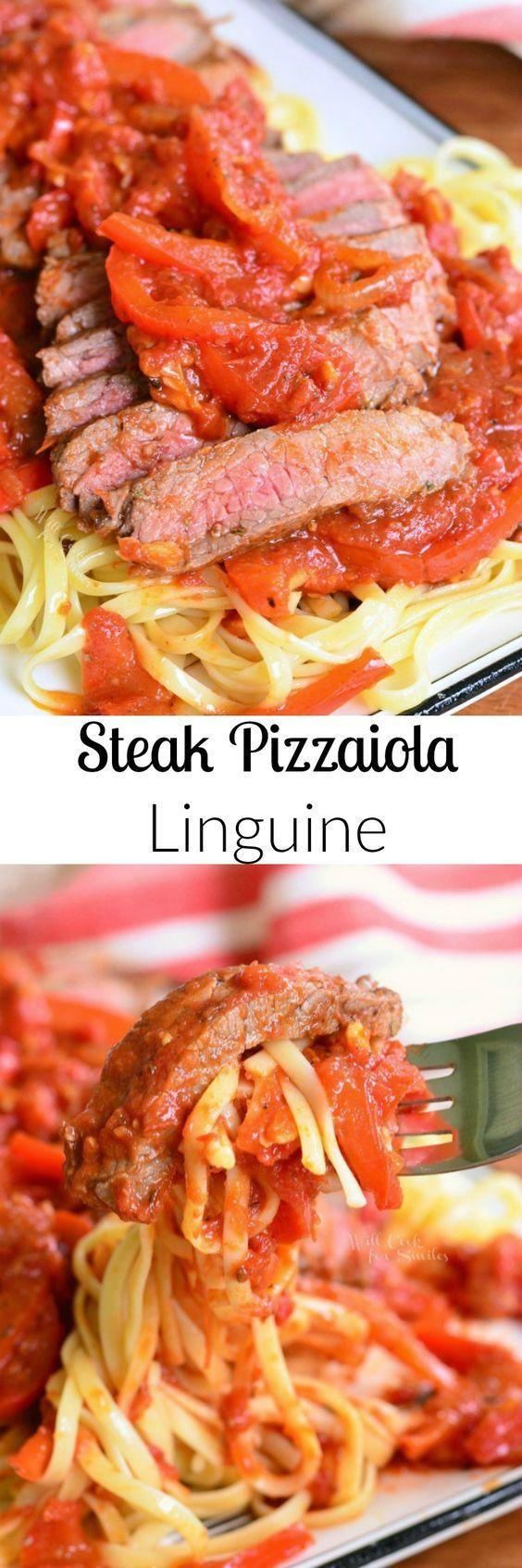 Steak Pizzaiola Linguine. Delicious Italian dish made with seared tender sirloin…