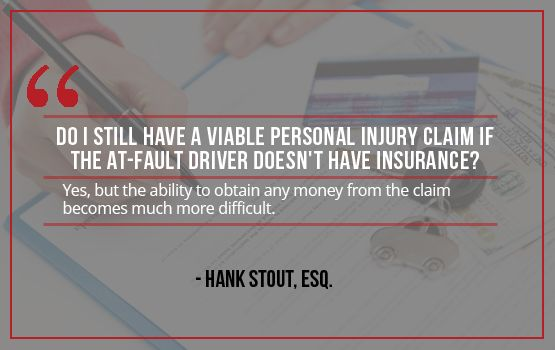 Question: Do I still have a viable personal injury claim if the at-fault driver doesn't have insurance? Contact us:    Sutliff & Stout  550 Post Oak Blvd #530   Houston, TX 77027   713-987-7111 https://myhoustoninjuryattorneys.com/