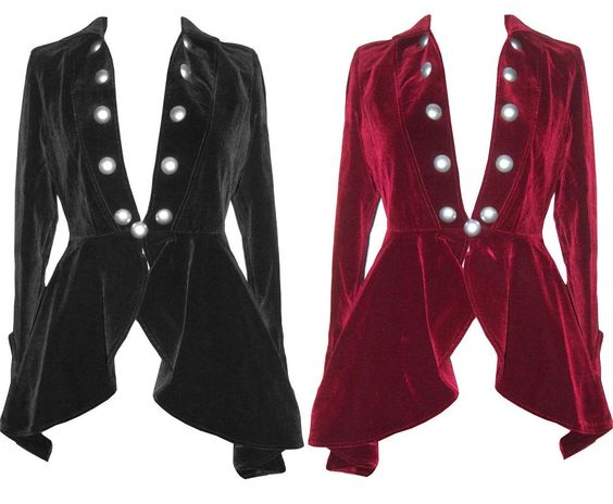 Details about SIZES 6-28 BLACK RED BURGUNDY VELVET GOTHIC VICTORIAN LADY VAMPIRE…