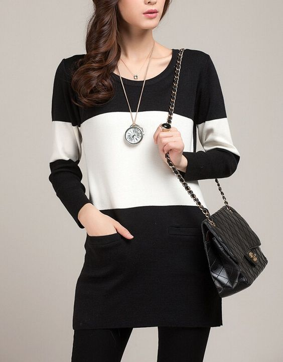 Round neck long-sleeved sweater knit sweater dress - Sweaters