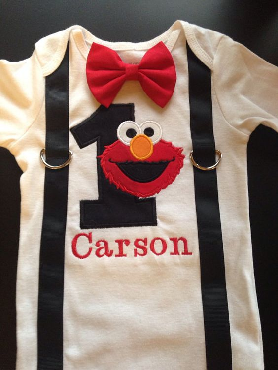 Boys first birthday elmo bow tie and by LittleChickiesClips