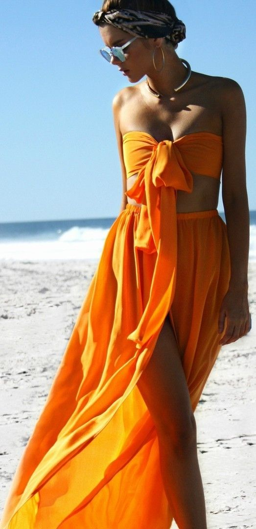 Tangerine Dream Two Piece set in silk. Australian designer Sisters The Label. Orange crop and maxi skirt with thigh split bow front detail fashion style