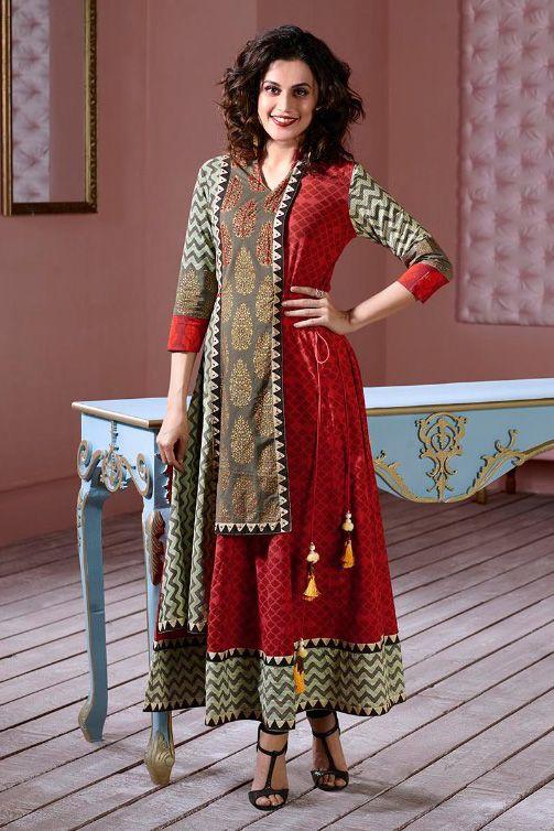 XL Indian Ethnic Kurti Cotton Fabric Thread Embroidered Bollywood Women Kurta Size