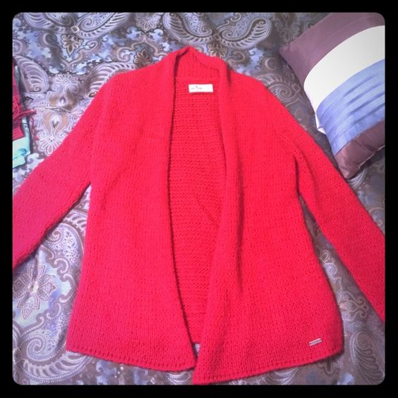 Red hollister cardigan Red warm hollister cardigan Hollister Sweaters Cardigans