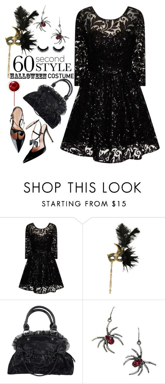 """60 Second Style:Last Minute Halloween Costume"" by grozdana-v ❤ liked on Polyvore featuring Chi Chi, Masquerade and 60secondstyle"