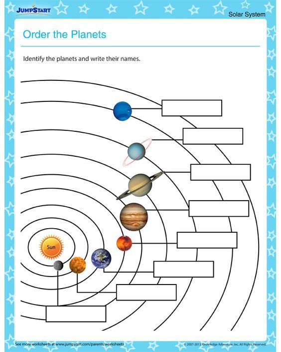 Order the Planets Solar system worksheets for kids – Solar System Worksheet