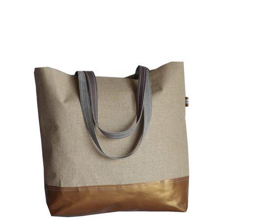 COPPER Brown Leather Tote Bag  Organic Bare Linen XL by dawnaparis, €49.00