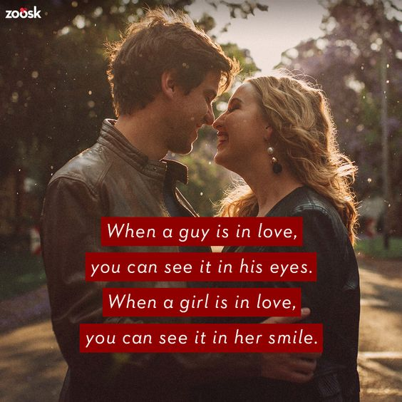Love quotes for her: Here's to being happy in love. 😊 When a girl is in love, you can see it in her smile. When a guy is in love, you can see it in his eyes. #lovequotes #lovegoals #relationshipquotes #relationshipgoals #lifegoals
