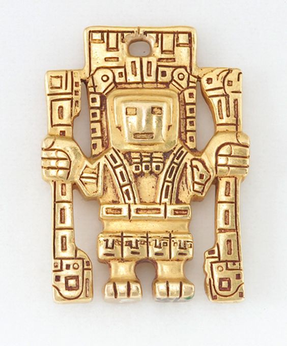 Peru | Pendant in human form, probably from the Tiwanaku (Tiahuanaco) culture | Cast gold | ca. 800 - 1000 AD.