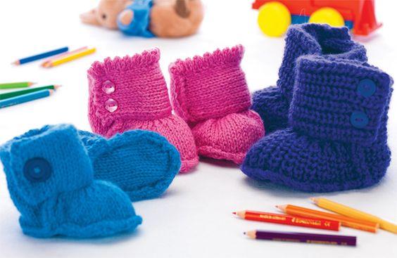 Free Pattern: Ozzie, Piper & Blake Booties Knitting Baby Booties free p...
