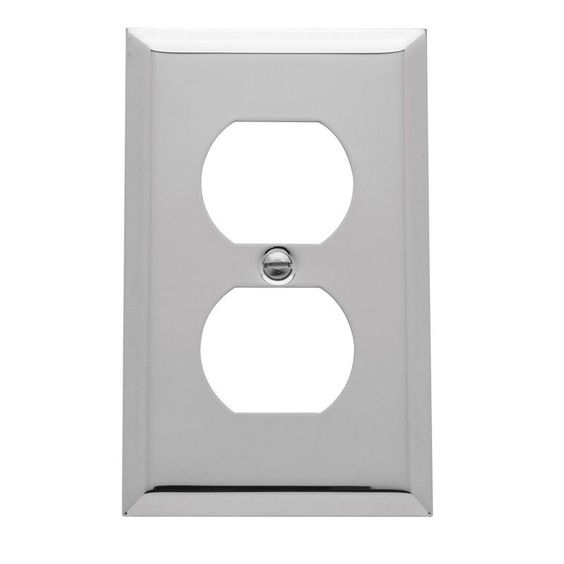 Baldwin 4752.CD Beveled Edge Solid Brass Single Duplex Switchplate Polished Chrome Wall Controls Wall Plates Outlet Plates