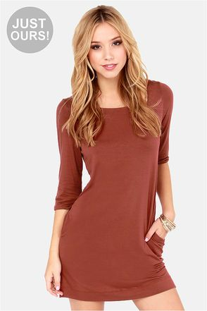 LULUS Exclusive Lots of Love Cinnamon Brown Shift Dress at Lulus.com!   I need this...and I need this now!!!