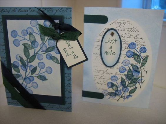 TLC103 Blueberry Gift Set1 Stamps:Best Blossoms, FS bg, Minimates sentiments Paper:Non SU lt blue, Night of Navy, Forest Foliage Ink:Same as paper, Black Accessories:gel pens, ribbon, WW punch, slit punch,