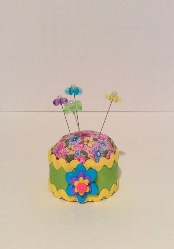 Handmade pincushion pincushion in a upcycle small by DKCRAFTSSHOP