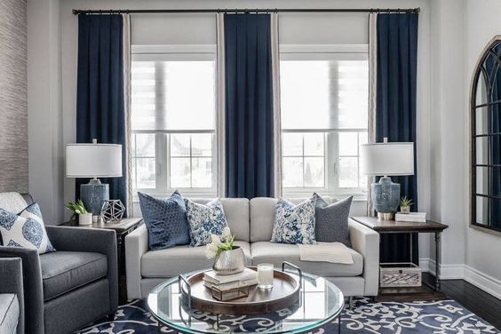 Pin By L Spencer On Home Decor Interior Blue Curtains Living Room Dark Blue Curtains Living Room Blue Living Room Decor