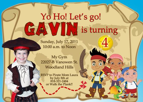 Jake and the Neverland Pirates PERSONALIZED birthday invitation, add a photo, you print, digital file. $15.00, via Etsy.