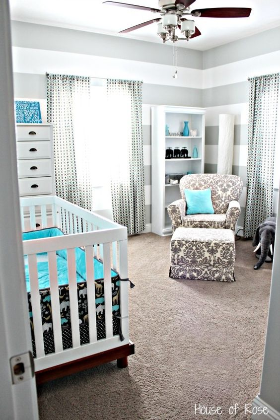 teal and black nursery