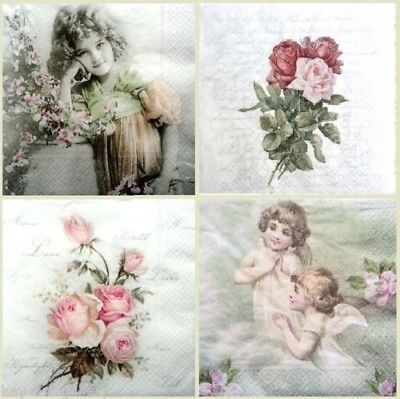 4 x Table PAPER NAPKINS FOR DECOUPAGE SAGEN GIRL  //TEA PARTY CRAFT