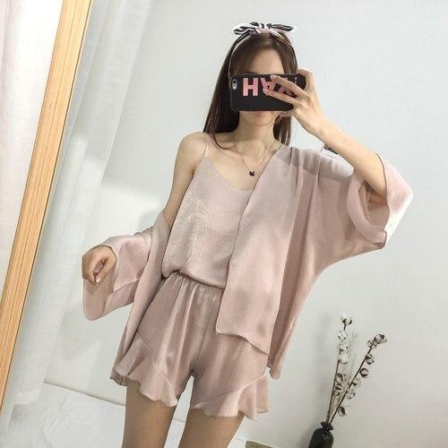 Summer Pajamas Sets Women Fashion Faux Silk Satin Loose Pijama Sleepwear Cardigan & Camisole Pajamas Pyjamas Short Homewear