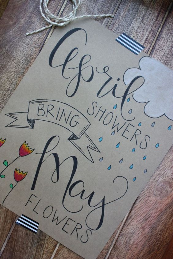 hand lettered signs april showers bring may flowers by alittlescrapofhappy on etsy