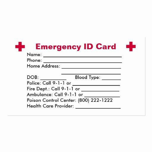 Emergency Card Template Beautiful Emergency Id Card Business Card