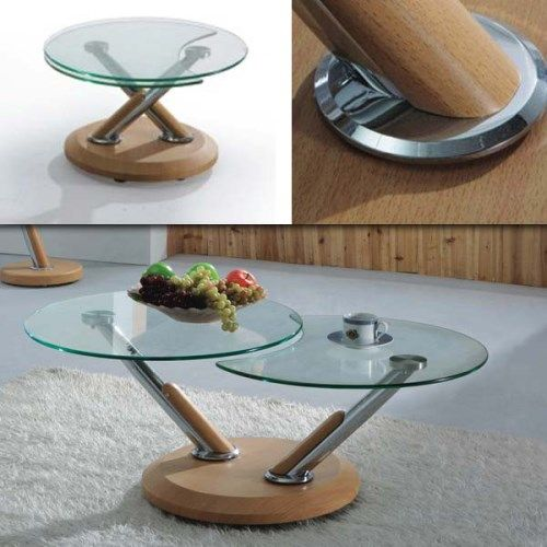 Extendable Glass Coffee Tables: Tokyo Twist Oak And Glass Coffee Table
