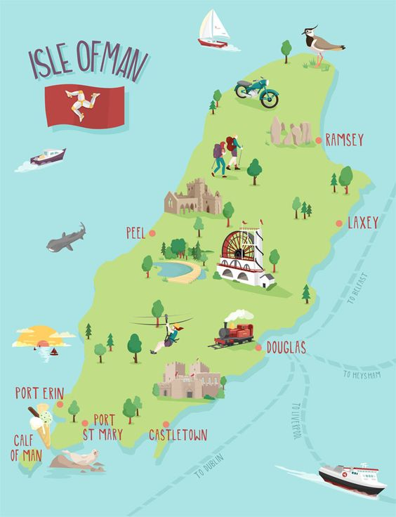 Isle of man map illustration by kerryhyndman.co.uk