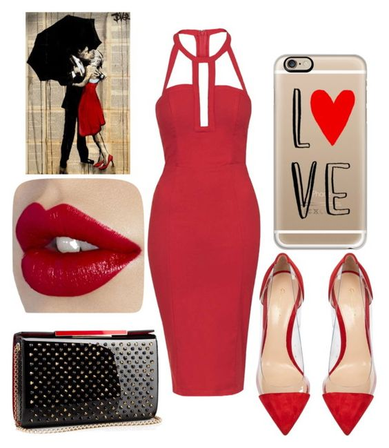 """valentine"" by kaye-viecelli on Polyvore featuring Topshop, Gianvito Rossi, Christian Louboutin, Casetify, women's clothing, women, female, woman, misses and juniors"