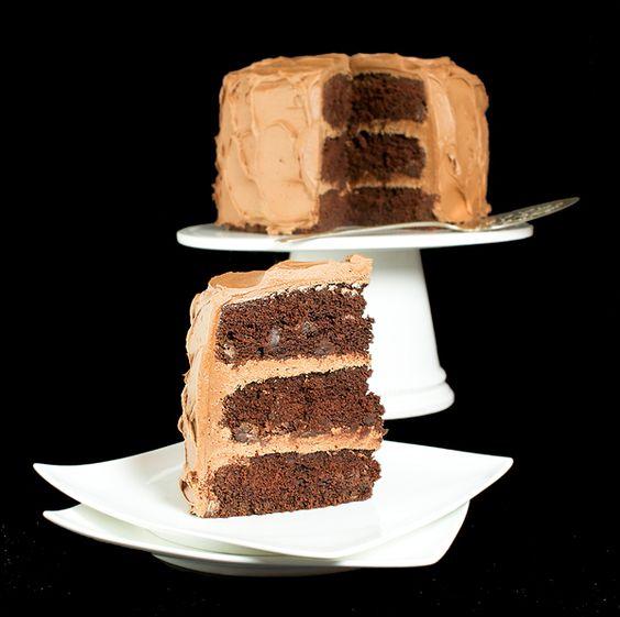 Chocolate Cake with Caramel-Milk Chocolate Frosting