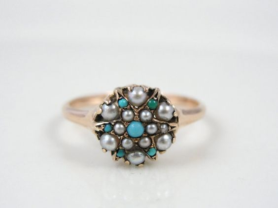 Victorian 10K Rose Gold Pearl and Turquoise Ring par MSJewelers, $265.00