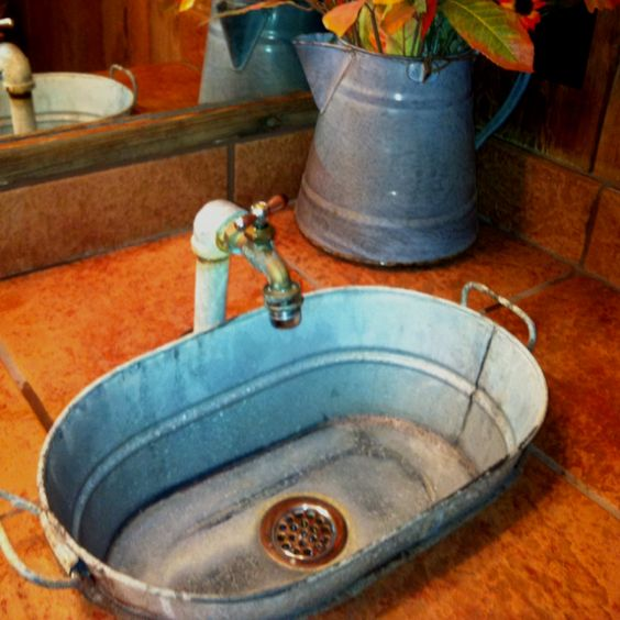 Country style...Relax in a bath using this as your sink. Use in an old cabin down by the lake. What about an outdoor gardener's sink?: