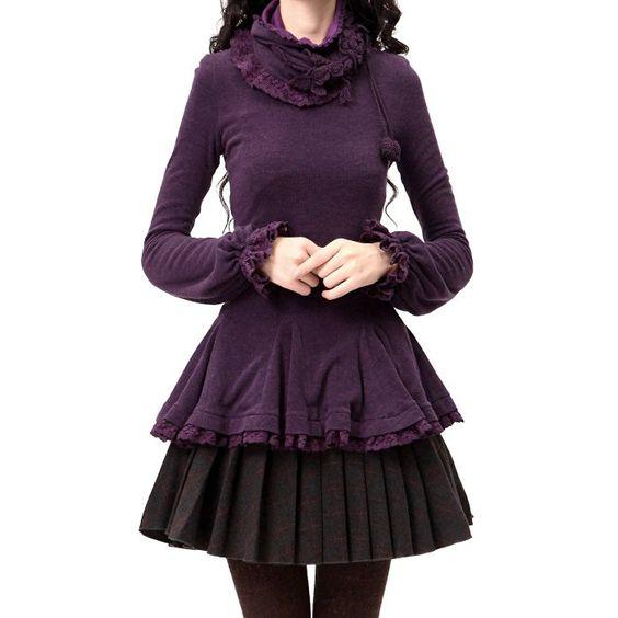 Artka Women's Crochet Hugging Waist Swing Hem Fine Woolen T-Shirt,Dark Purple,M