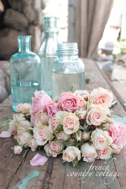 FRENCH COUNTRY COTTAGE: Trio of Vintage Blue Bottles: