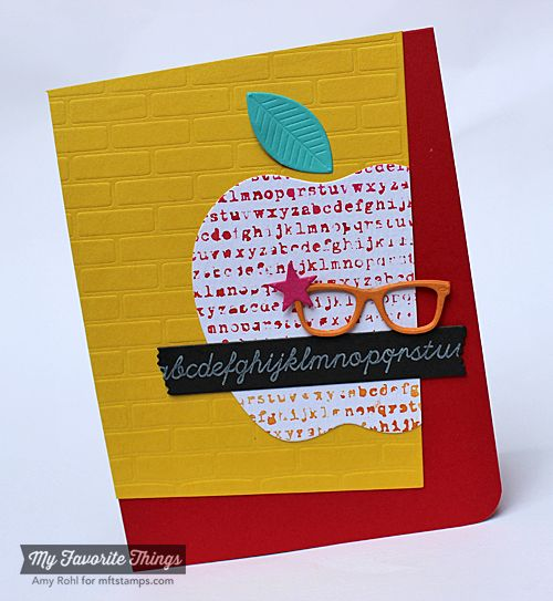 Journal It - Head of the Class, Typewriter Text Background, Blueprints 13 Die-namics, Blueprints 15 Die-namics, Geek Is Chic Glasses Die-namics, Red Delicious Die-namics, Small Brick Wall Stencil - Amy Rohl #mftstamps