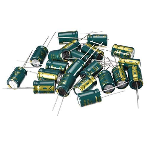 uxcell/® Aluminum Radial Electrolytic Capacitor Low ESR Green with 100uF 35V 105 Celsius Life 3000H 6.3 x 11 mm High Ripple Current,Low Impedance 20pcs