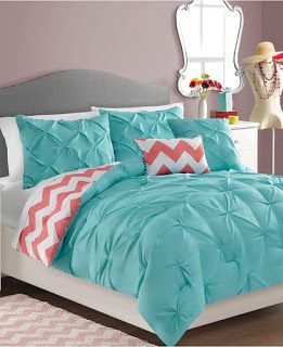 VCNY 4 Piece Sophia Reversible Comforter Set Twin Turquoise