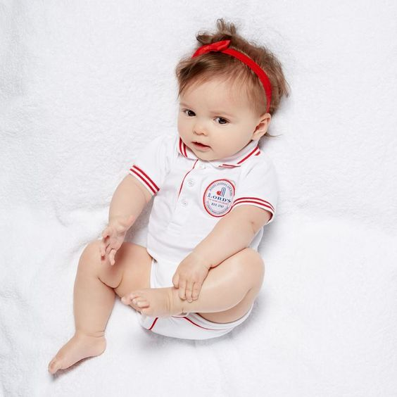 Polo Collar Baby Body Suit - White with Red trim