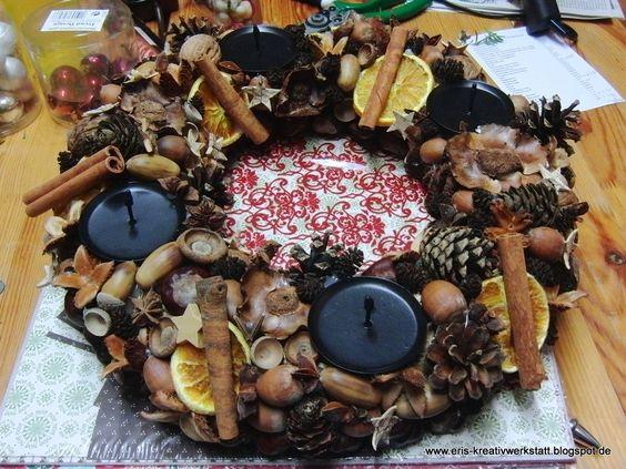 Adventskranz vom Kränzeworkshop letzte Woche   http://eris-kreativwerkstatt.blogspot.de/2015/12/bilder-von-den-kranze-und_3.html  #weihnachten #xmas #christmas #adventskranz