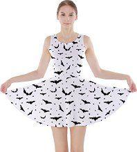 Black Pattern Bats Skater Dress