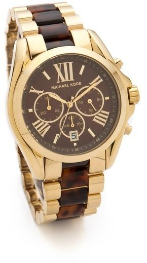 Michael Kors Bradshaw Chronograph Watch, A polished gold-tone finish and Roman numeral markers lend elegance to this Michael Kors chronograph watch, and tortoiseshell links complete the sophisticated look. Three subdials and a date wheel complete the dial. Hinged-snap clasp.