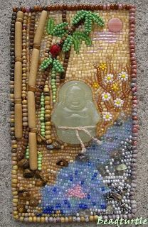 Bead embroidery inspiration. Design traced onto felt - beading done over template. Design by Bead Turtle (wonderfully creative!)