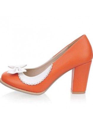 Bowknot Orange Chunky Heels | shoes | Pinterest | Chunky Heels ...