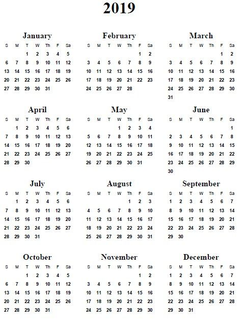Printable Year At A Glance Calendar 2019 5 Best Of