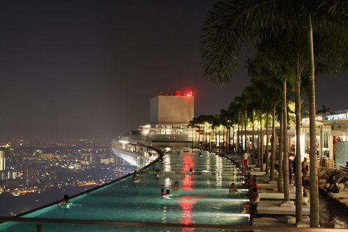 Marina Bay Sands Hotel Singapore Swimming Pool Palm Trees City View Lights Summer Night Design