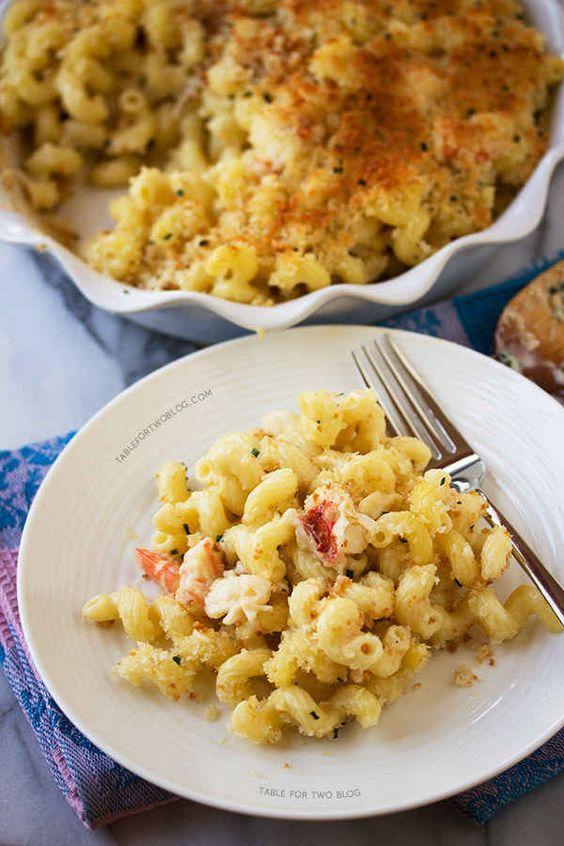 Käse-Makkaroni mit Hummer und Shrimps