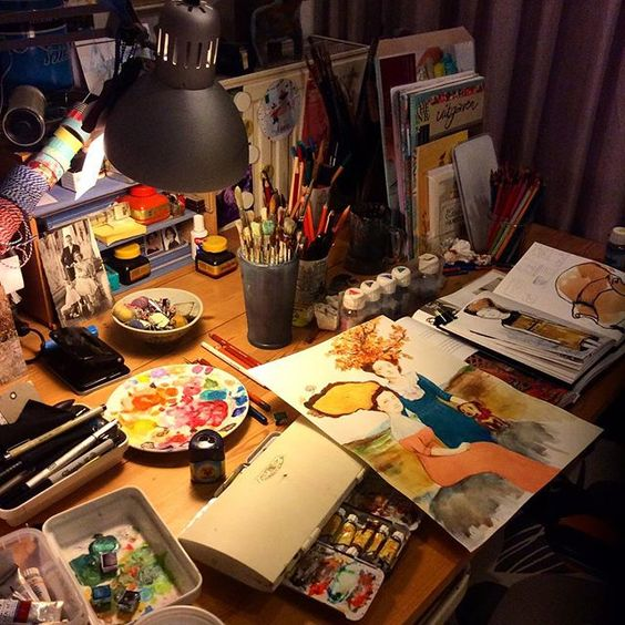 My messy table tonight. I finished the Two Sisters and will scan it tomorrow. #onmytable #painting #sketchbook: