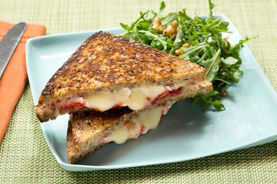 Recipe: Grilled Brie Cheese & Strawberry Jam Sandwiches with Arugula & Walnut Salad - Blue Apron
