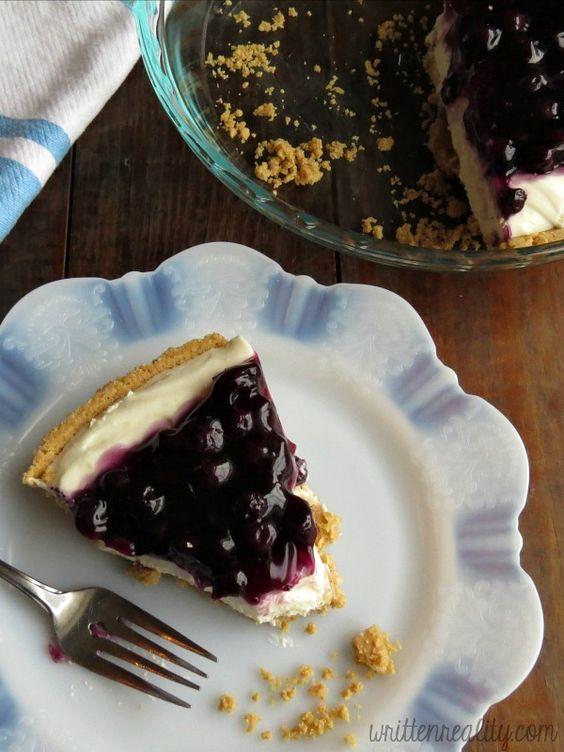 Blueberry Cream Cheese Pie rich and creamy dessert {writtenreality.com}